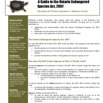 A Guide to the Ontario Endangered Species Act 2007: Information for Private Landowners in Haliburton County