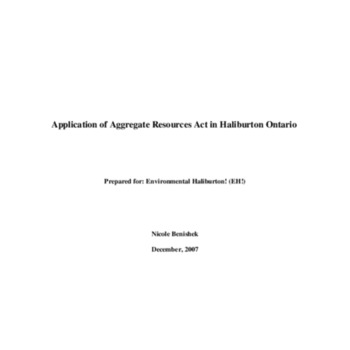 Application of Aggregate Resources Act in Haliburton, Ontario